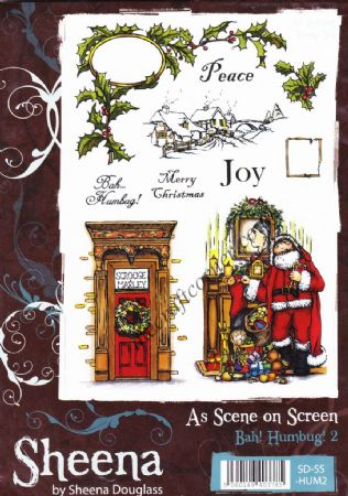 Bah! Humbug! 2 Christmas Unmounted A5 Rubber Stamps Sheena Douglass As Scene On Scene
